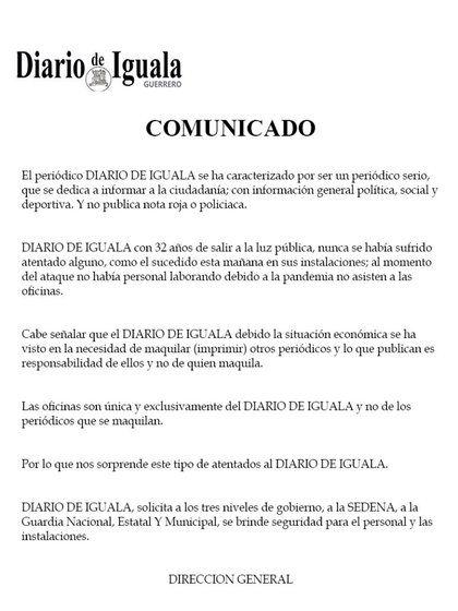 Declaración emitida unas horas después del ataque (Foto: Diario de Iguala Guerrero)
