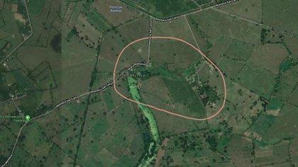 Delimitación del terreno de la finca Uribe en mapas de Google.