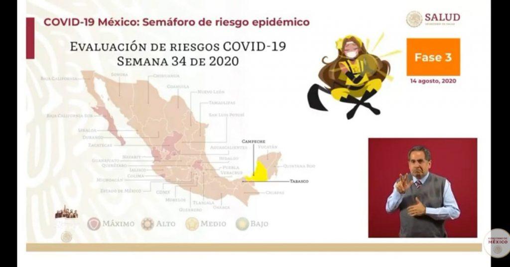 Campeche es el primer estado en alcanzar el color amarillo en el semáforo de alerta COVID-19